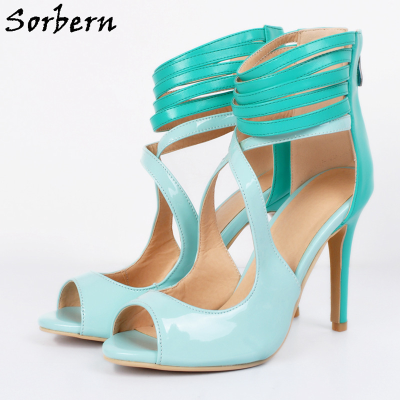 Sorbern Mint Green Ankle Wrapped Pumps Open Toe Plus Size Womens Shoes Designer Women Luxury 2017 Shoes Autumn Pumps Sexy Heels mint green casual sleeveless hooded top