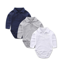 Cotton Long Sleeve Bodysuits For Newborns Baby Boy Clothes Turndown Shirt Collar Kids Jumpsuit Infant Clothing