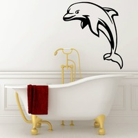 Free Shipping Dophine Wall Sticker Bathroom Wall Decal DIY Art Vinyl Home Decoration Decals Bathroom Wall