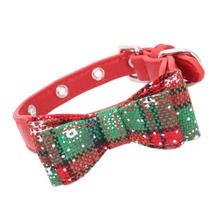 Bowknot Cat Collar Green and Red Christmas Adjustable Decorative Collar for Cats Small Dogs Pet Christmas Products kat halsband