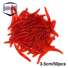 50pcs 3.5cm Soft Bait Simulation Earthworm Red Worms Leurre Carp Fishing Lure Artificial Fishing Tackle Fish Silicone Bait цены