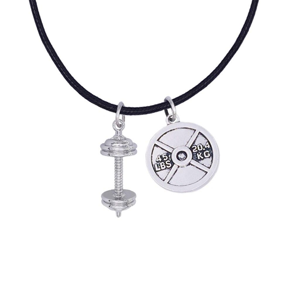 10 Teile/los Legierung Gewichtheben Barbells Gewicht Platte Sport Gym Anhänger Seil Ketten Halsketten Für Männer Feines Handwerk