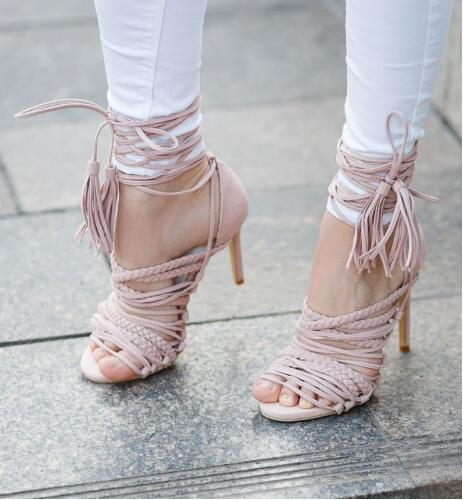 ФОТО Women graceful ink black suede thin strappy high heel sandals fastening lace up tassel pumps wrapped heel braided cut-outs shoes