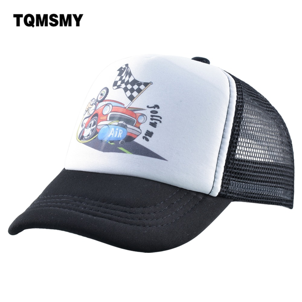 TQMSMY Funny Children Hat Race Car Competition Cartoon Kid's Summer Hat for Boy Snapback Hats Girl for Travel TMA42