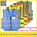 Insignia de la impresión de alta visibilidad chaleco reflectante de Seguridad chaleco de trabajo de múltiples bolsillos uniforme envío gratis