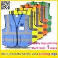 Logotipo da cópia de Segurança de alta visibilidade colete refletivo colete multi-bolsos uniforme de trabalho frete grátis