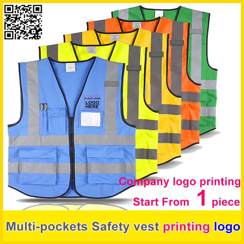 High visibility Safety reflective vest print logo work vest multi pockets uniform free shipping