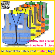 SPARDWEAR High visibility Safety reflective vest print logo work vest multi pockets uniform free shipping