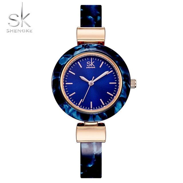 Shengke Для женщин Часы Браслеты модные наручные часы Очаровательная Сеть Стиль часы Для женщин Творческий уникальный женское платье часы 2018