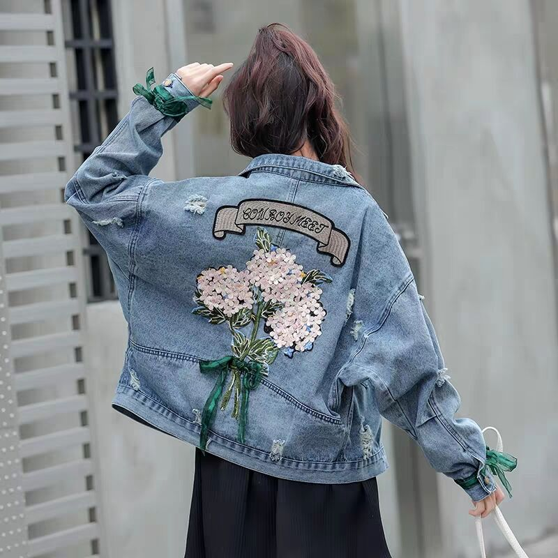 MUMUZI Women's denim   Jackets   2019 autumn Causal windbreaker Women   Basic     Jackets   Coats back flower embroidery   Jackets   Bomber