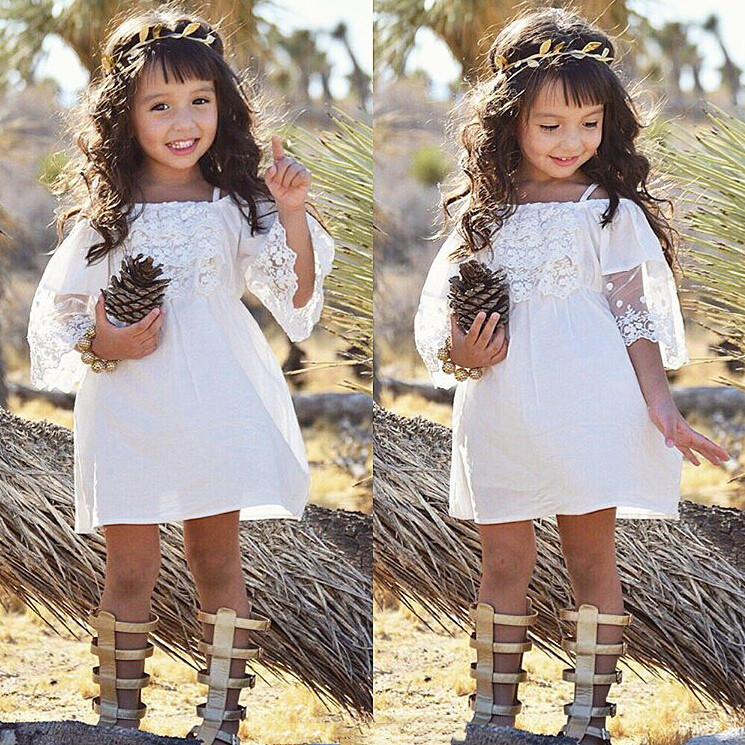 Lace Girl Clothing Princess Dress Kid Baby Party Wedding Pageant Formal Mini Cute White Dresses Clothes Baby Girls 2