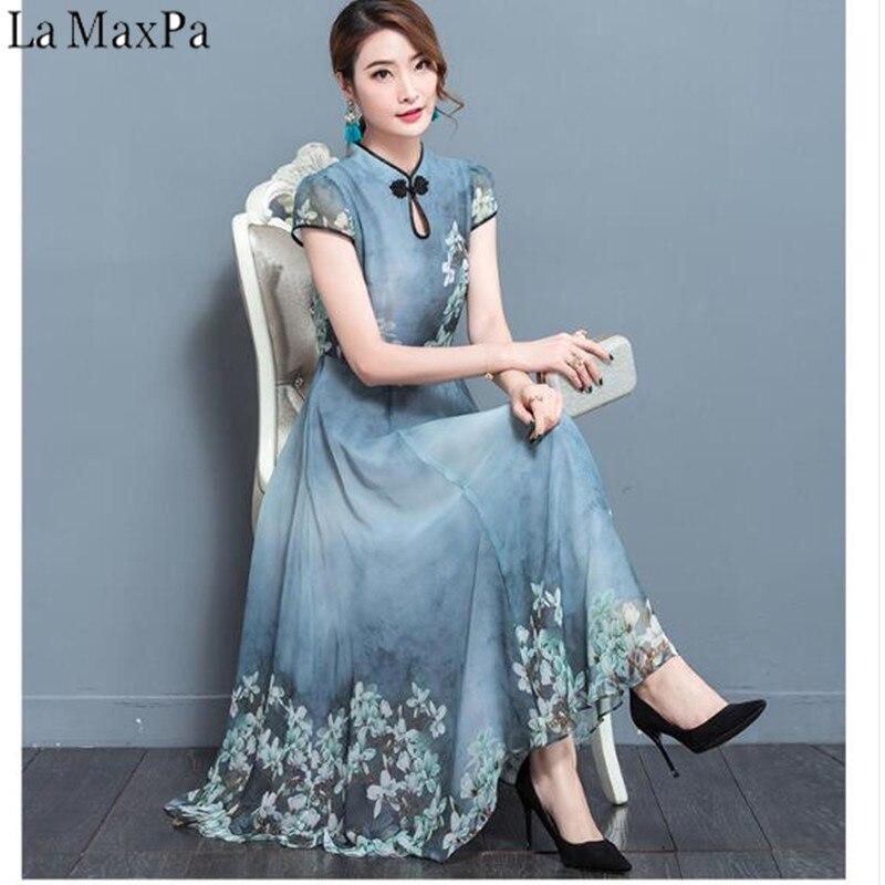 e93457e2ba5 2019 новое летнее шифоновое платье Robe Noel элегантный Винтаж шифон Платья  для вечеринок 3XL плюс Размеры