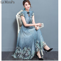 2019 New Summer Chiffon Dress Robe Noel Elegant Vintage Chiffon Party Dresses 3XL Plus Size Female Retro Chinese Style Clothing