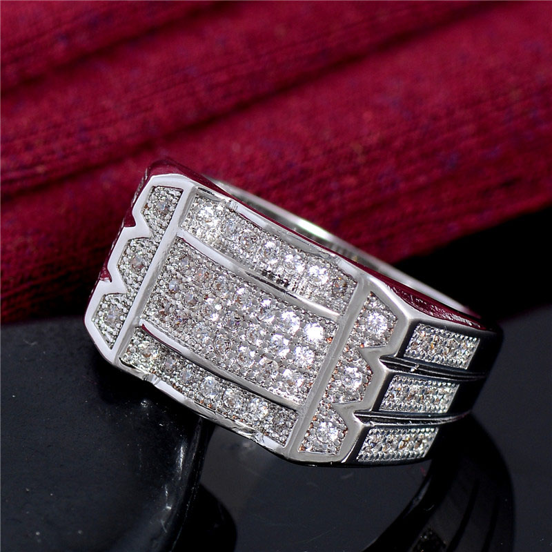 Ring For Men Vintage Crystal Anel Masculino Engagement Wedding Rings