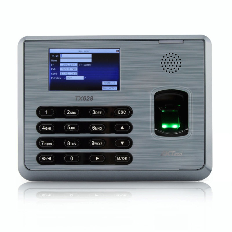 New arrival fingrprint time attendance time clock with TCP/IP USB RS232/485 communition ZK TX628 time attendance zk tx628 3 inch color screen new tx628 id 125khz tcp ip rs232 485 biometric fingerprint time attendance recorder time clock sdk