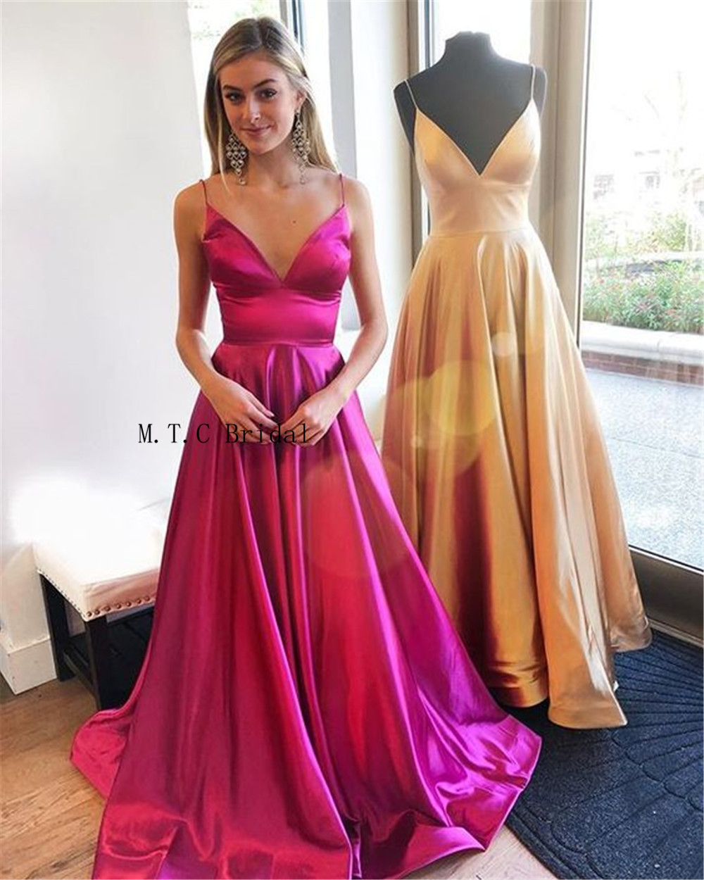 Sexy 2019 Long   Prom     Dresses   Spaghetti Strap A Line Floor Length Formal Occasion   Dress   Custom Made Evening Party   Dress   Cheap