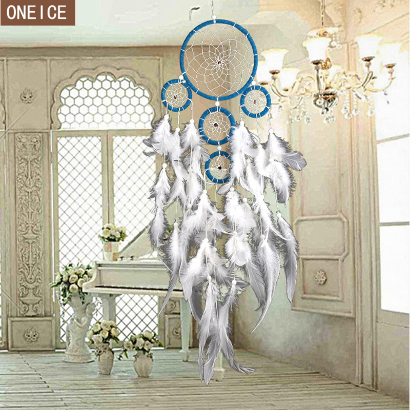 Nordic Stil Zu Hause Traum Catcher Hand-woven 5 Ring Gans Feder Feder Tuch Hause Wand Kunst Buch Dekoration Anhänger Dreamcatcher Gute WäRmeerhaltung Wohnkultur