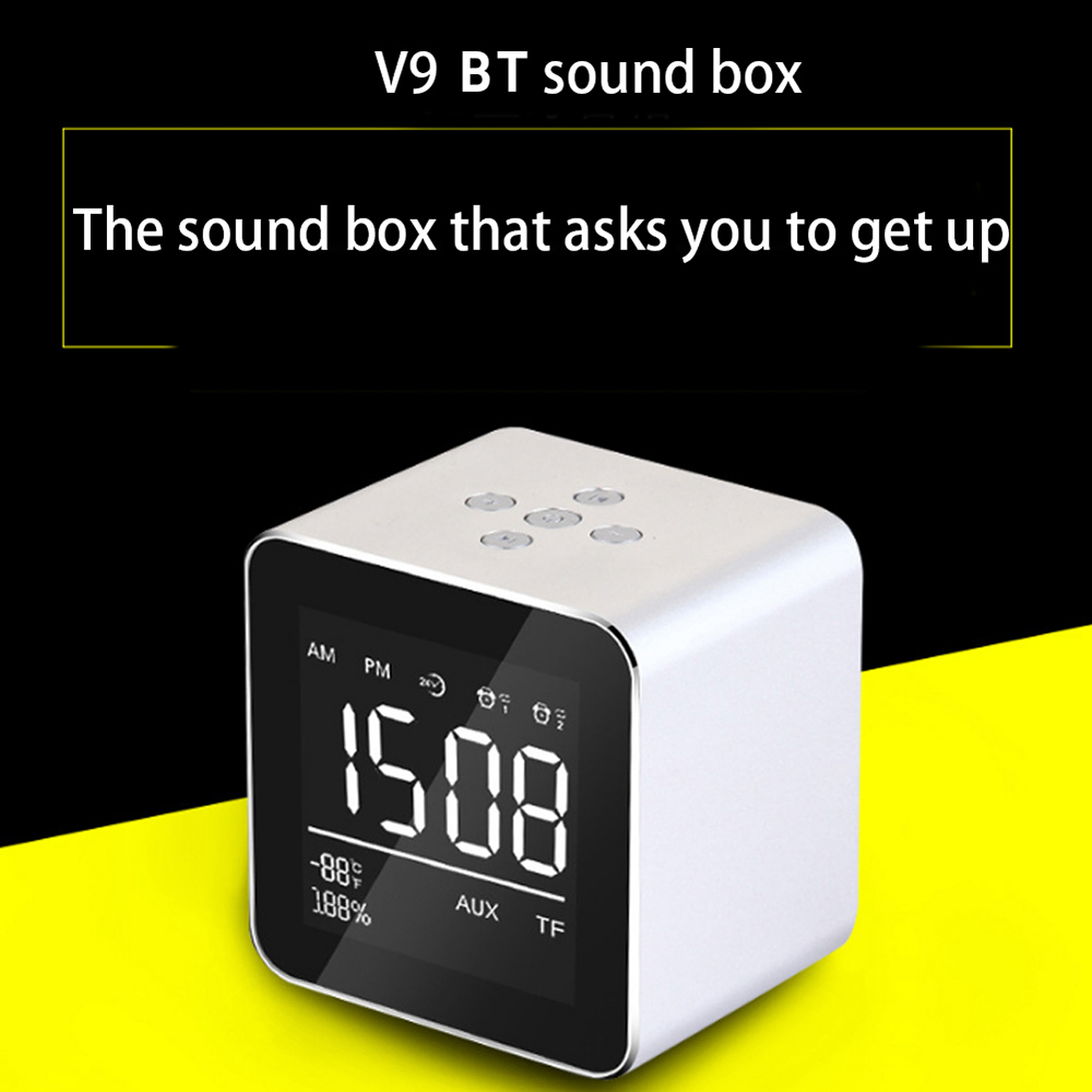 Bright Wireless Alarm Clock Bt Home Rechargeable Table Clock Mini Display Tf Card Fm Audio Input Bass Speaker Alarm Clock Sound Box Clocks Back To Search Resultshome & Garden