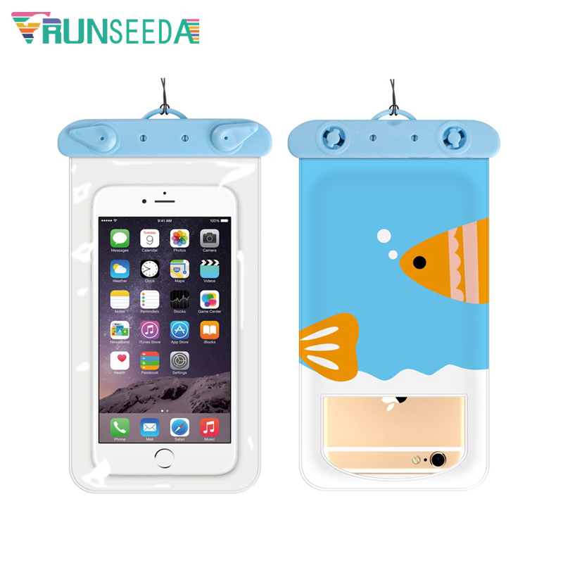 Runseeda 6 Inch Cartoon Swimming Bag Cute Waterproof Mobile Phone Carry Case New Sealed Pouch For Iphone Huawei Xiaomi Cellphone 4