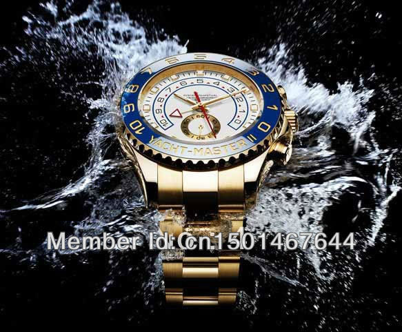 +AAAA Luxury Big OYSTER PERPETUAL YACHT MASTER II 18K YELLOW GOLD 116688 YACHTMASTER High Quality Japan quartz Men's Watches