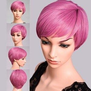 Розовый парик с челкой DinDong, Короткие парики из термостойкого синтетического парика для костюмированной вечеринки, цвет синий, блонд, зелен...