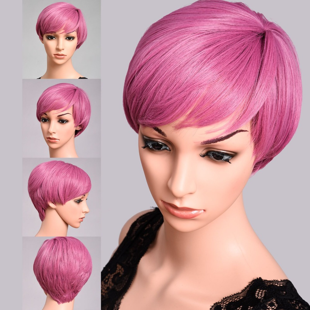 DinDong Pink Bob Wig with Bangs Short Pixie Cut Wigs Heat Resistant Synthetic Cosplay Party Wig Blue Blonde Green gorros de baño con flores
