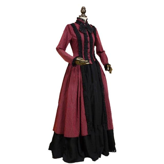 Gothic Victorian Lolita Dress Penny Dreadful Dark Witch Gown Cosplay  Reenactment Women Costume 4f6735ba84d0