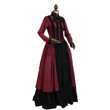 Gothic Victorian Lolita Dress Penny Dreadful Dark Witch Gown Cosplay Reenactment Women Costume