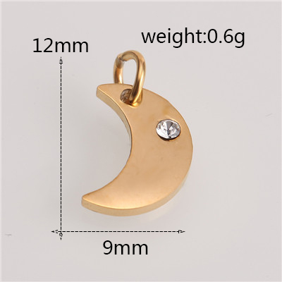 Модный Золотой/Серебряный геометрический кулон из нержавеющей стали в форме сердца и Луны для браслетов, браслетов, ожерелья, ювелирных изделий - Цвет: AC18241