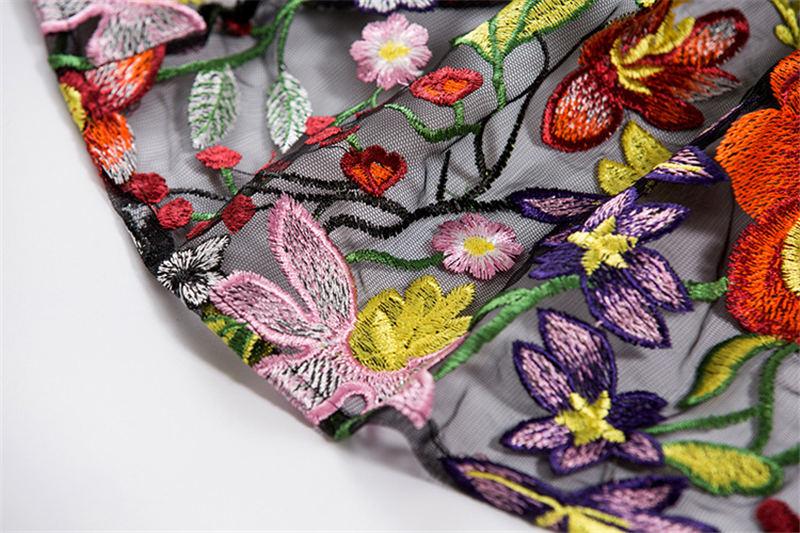 HTB1d3b6iY I8KJjy1Xaq6zsxpXaQ - 2018 Spring High Quality Mesh Floral Embroidery Long Dress Full Sleeve Vintage Flower Black Runway Designer Maxi Women Desses