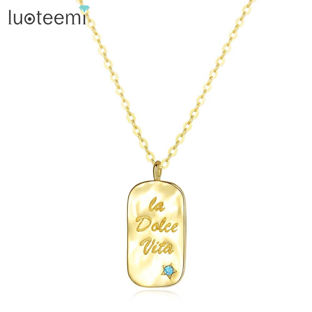 LUOTEEMI Authentic Gold Tiny Blue CZ Stone Letter Golden Pendant Necklace for Women Simple Charming Chain Necklace JewleryLUOTEEMI Authentic Gold Tiny Blue CZ Stone Letter Golden Pendant Necklace for Women Simple Charming Chain Necklace Jewlery
