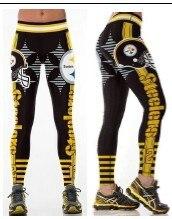 Унисекс футбольная команда Steelers печать обтягивающие брюки тренировки тренажерный зал Обучение для йоги бега занятий спортом леггинсы для фитнеса Прямая поставка