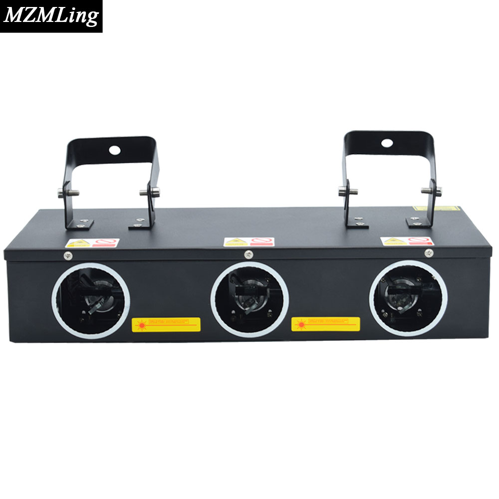 Hot 3 Heads Laser Light 0.3w RGB R 100mw, G 45mw, B 120mw DMX512 DJ /Bar /Party /Show /Stage Light LED Stage Machine