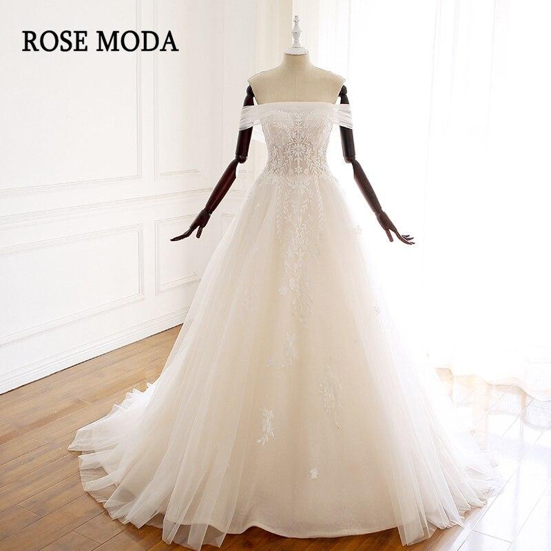 Rose Moda Off Shoulder Lace Wedding Dresses 2019