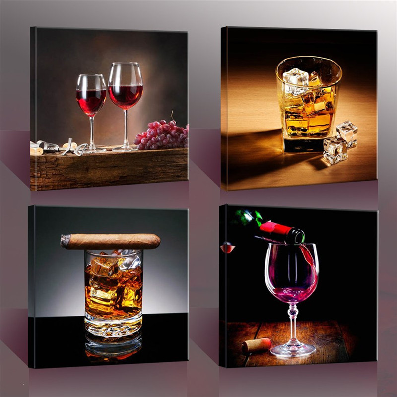 4 Piece Modern Kitchen Canvas Paintings Red Wine Cup Bottle Wall Art Oil  Painting Set Bar Dinning Room Decor Pictures No Frame In Painting U0026  Calligraphy ...