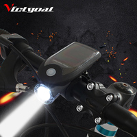 VICTGOAL Bicycle Light USB Rechargeable Front Light Solar LED Headlight With Holder Waterproof 240 LM Handlebar
