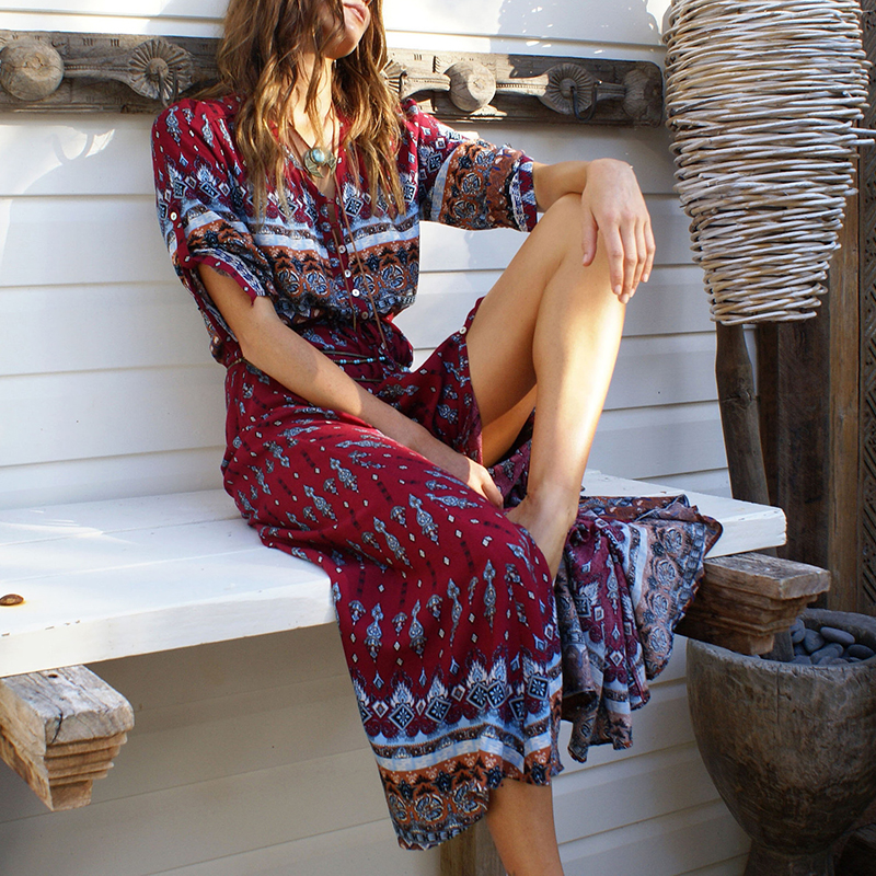 Women Boho Gypsy Summer Long Maxi Dress Lady Evening Party Beach Sundress 2018