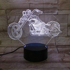 Двигатель велосипед ночник 7 видов цветов Изменение 3D светодиодные лампы большое колесо гоночный мотоцикл портативный свет друзья дети день рождения свет