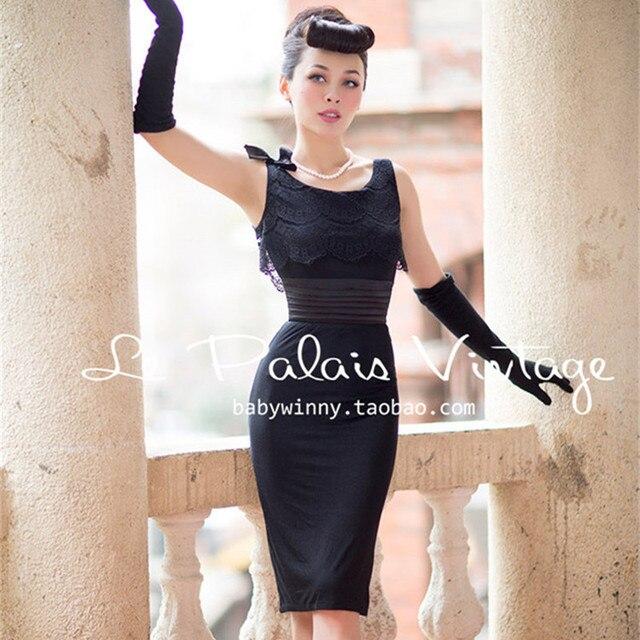 029f6be9e6 US $99.99 |30 le palais vintage 50's women elegant Audrey Hepburn lace  detail wiggle pencil little black dress plus size pinup dresses-in Dresses  from ...