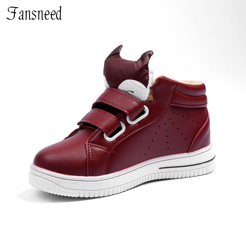Children Leisure Warm Shoes Suited For Winter And Autumn ,Fashion Fox Head Cute Boys And Girls Sneaker With Soft Fur children autumn and winter warm clothes boys and girls thick cashmere sweaters