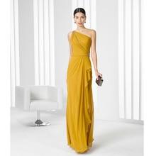Atemberaubende Gold Abendkleider Eine Schulter Bördelte Pailletten Eleganten Chiffon-Lange Abschlussball-kleid 2016 Neues Design Abendkleider