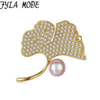 FYLA MODE Ginkgo Biloba Leaves Brooches Cubic Zirconia Micro Paved Grey Pink Freshwater Pearls Brooch Pin Plant Costume Jewelry
