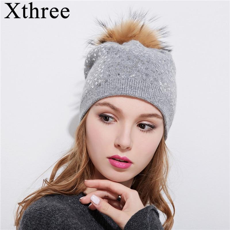Xthree vinter stickhatt för kvinnor ull hatt mössor 15 cm äkta minkpäls pom poms Glänsande hatt Skullies tjejer hatt