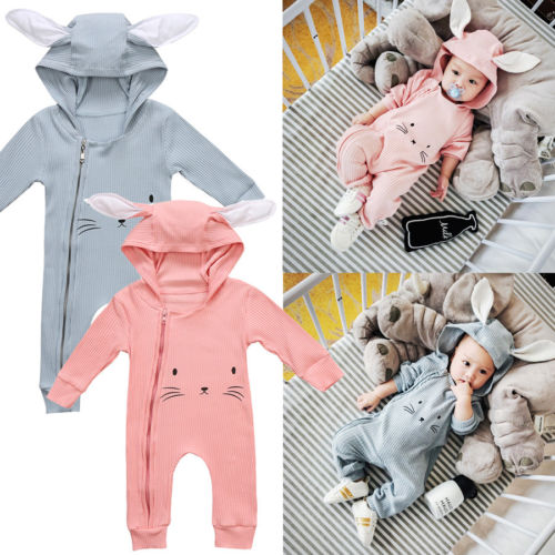 Cute Toddler Baby Girls Boys Cartoon Ears Hooded   Romper   Animal Jumpsuit Clothes