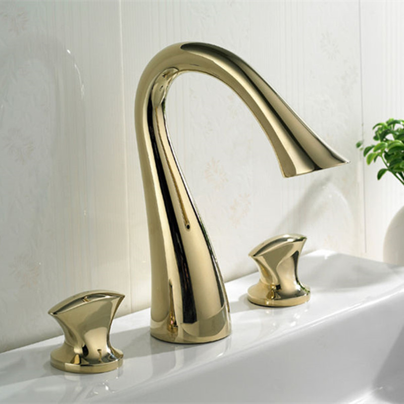 Wholesale Promotion For Projects Luxurious Brass Golden Basin Mixer 8 Inch Widespread Bathroom Faucet China