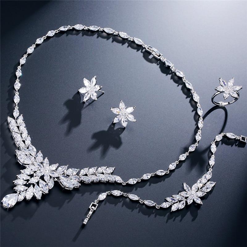 UILZ Charm Dubai or couleur cristal ensembles de bijoux pour les femmes pendentif africain collier boucles d'oreilles 4 pièces accessoires de robe de fête US235