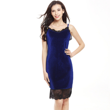 Women Velvet dress Sexy Sheath Dresses Summer Ladies Round Neck dress Spaghetti Strap Knee Length Elegant Pencil Dress plus size