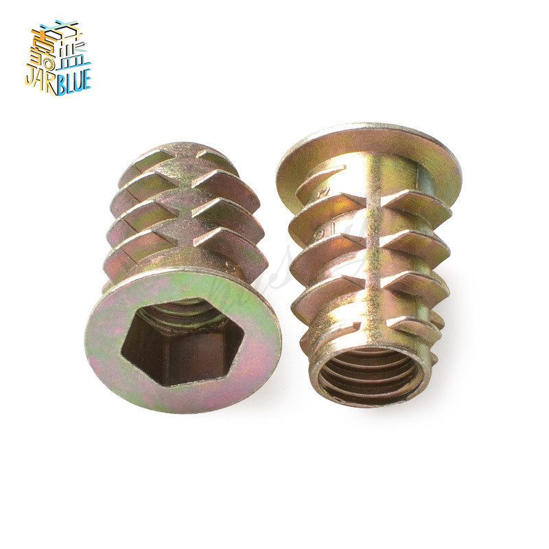 10/20/<font><b>30</b></font>/50Pcs M4 M5 M6 M8 M10 Zinc Alloy Thread For Wood Insert Nut Flanged Hex Drive Head Furniture Nuts image