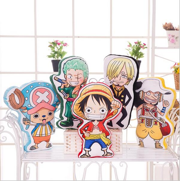 2016 NEW 50cm Creative 3D Anime One Piece fighre plush pillow, cartoon luffy zoro sanji chopper Usopp plush toy Cushion pillow image