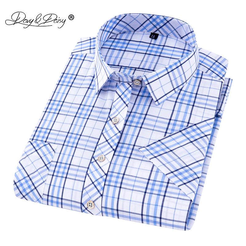 DAVYDAIS New Arrival 2019 Summer High Quality Men Shirt Fashion Short Sleeve Brand Clothing Male Shirt Camisa Masculina DS242